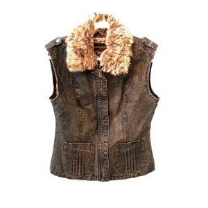 Cripple Creek Brown denim Fur collar Vest
